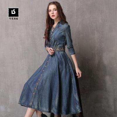 tay dài Thương hiệu ban đầu nữ 2019 mùa thu mới váy denim mỏng Váy thêu tay cổ điển A82083