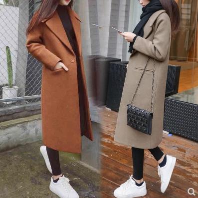 áo khoác Áo khoác len chống mùa cho nữ dài phần mỏng bị lỏng học sinh Sen Hepburn gió mùa thu và áo