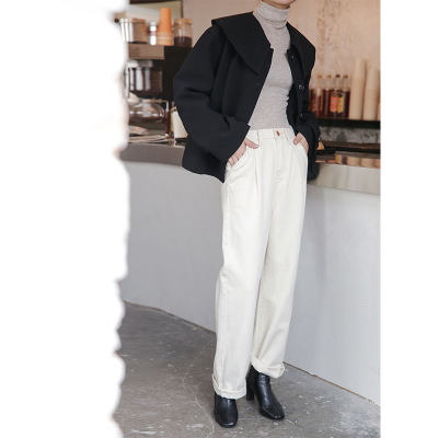 Áo khoác 2019 thu đông mới Áo khoác nữ Hàn Quốc màu rắn giản dị giản dị Hồng Kông hương vị áo cổ lọ