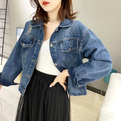 Áo khoác denim mới mùa thu 2019 của phụ nữ thiết kế đơn giản lỗ thời trang cũ cô gái denim dài tay