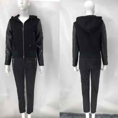Áo khoác Khâu da đen khóa kéo áo khoác trùm đầu 19 mùa thu nữ mới