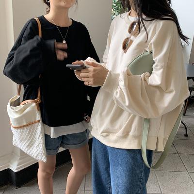 tay dài Huang Wei mẫu cơ bản đơn giản áo len cổ tròn nhiều màu mỏng đơn nữ 2019 mùa thu Hàn Quốc áo