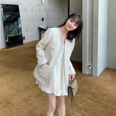 Áo khoác 2019 mùa thu mới dài retro hương vị Hồng Kông nhỏ áo khoác nữ mùa xuân và mùa thu vàng dòng