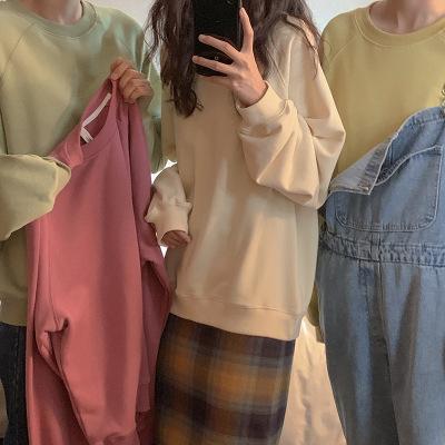 áo khoác Áo thun dài tay nữ 2019 mùa thu mới rộng rãi trùm đầu áo len dài phần áo khoác lông một thế