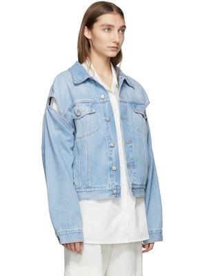 Áo khoác Thiết kế vai đào đào còng rộng quá khổ Hai mặc áo khoác denim