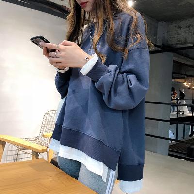 áo khoác Phụ nữ mùa thu mới 2019 áo len lười rộng cổ áo len cổ tròn sang trọng