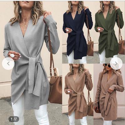 áo khoác Amazon ebay2019 mùa thu và mùa đông quần áo mới của phụ nữ len màu rắn cổ chữ V thắt lưng d