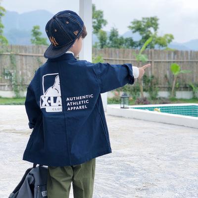 Áo khoác trẻ em  Áo gió cho bé trai dài phần 2019 mùa thu và mùa đông mới văn học Nhật Bản ve áo cô