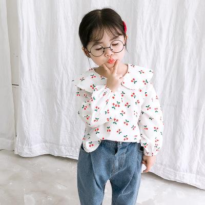 Áo Sơ-mi trẻ em Áo sơ mi nữ mùa thu 2019 mới bé gái sơ mi ve áo cotton trẻ em nước ngoài áo sơ mi bú