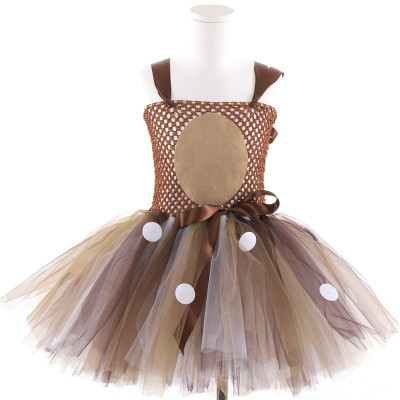 Trang phục dạ hôi trẻ em Deer dress cosplay girl short váy Halloween trẻ em ăn mặc cao cấp tiệc hiệu