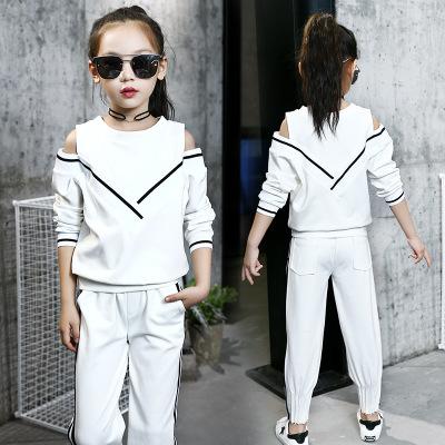 Đồ Suits trẻ em Mùa thu 2019 nữ mới mặc đồng phục cotton trường hải quân sọc gió đại học hai mảnh se
