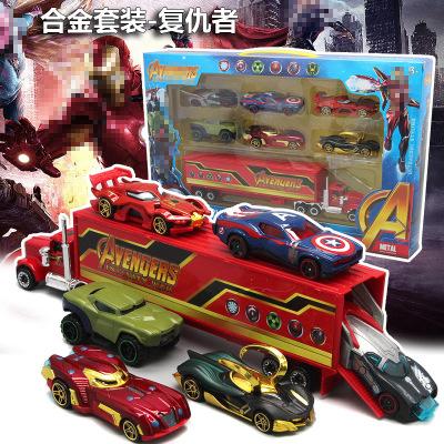 Đồ chơi sáng tạo Avengers Racing Set Kết hợp Hoạt hình Sáng tạo Hợp kim Trẻ em Đồ chơi Xe hơi Mới Bá