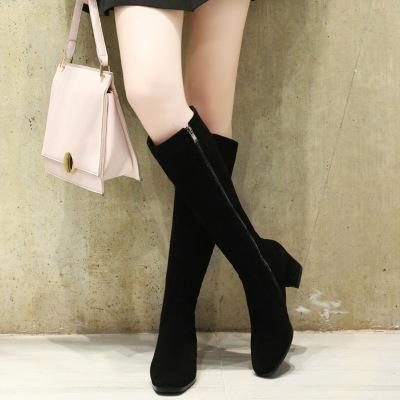 Thị trường giày nữ Châu Âu và Hoa Kỳ bốt dài mùa thu và mùa đông Giày da cao mới dành cho nữ dày với