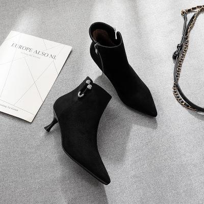 Giày nữ hàng Hot Fu [plus nhung] bốt ngắn nữ 2019 đẹp với giày mùa thu và mùa đông mũi nhọn Giày cao