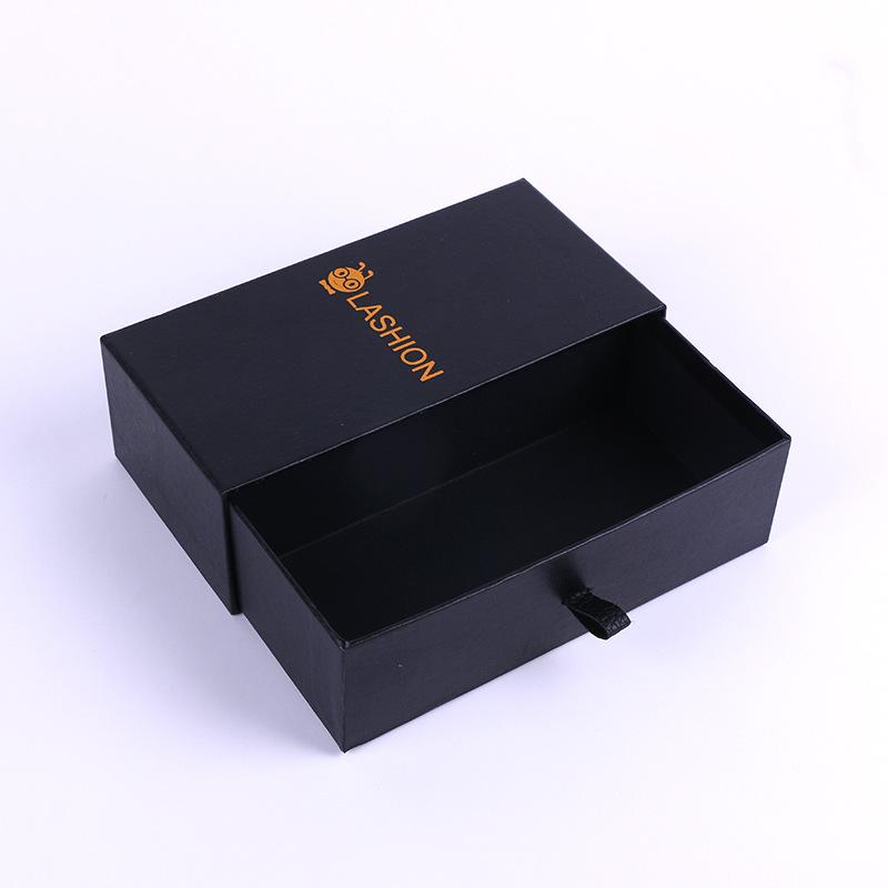 HJ NLSX bao bì Thế giới sáng tạo bao bì trang sức carton đen cao cấp tinh tế hộp ngăn kéo đơn giản v