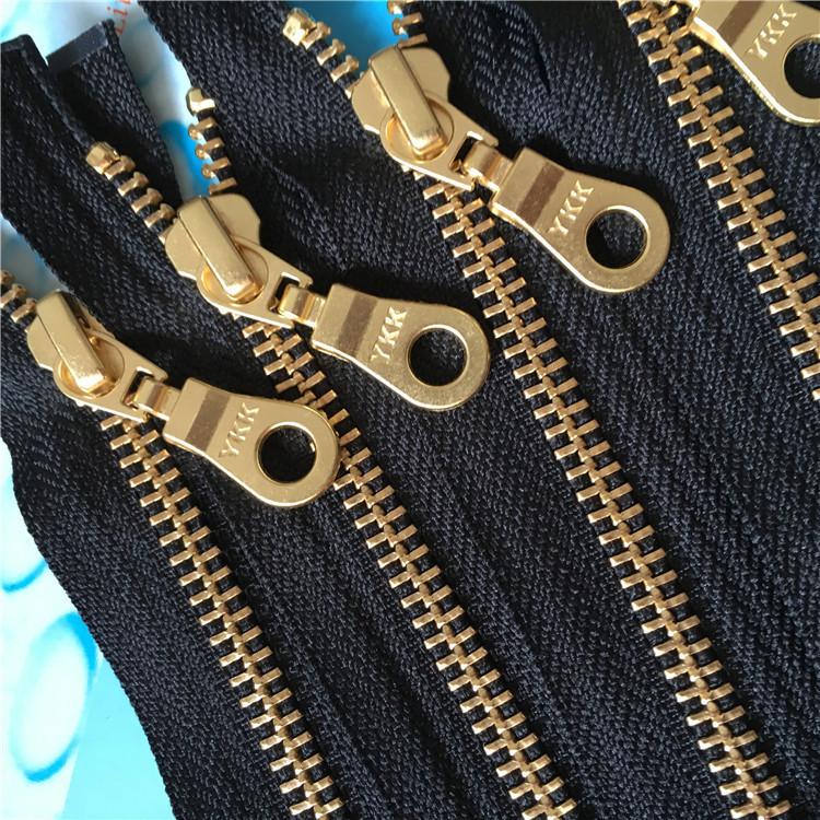YKK Dây kéo kim loại đầy đủ của khóa kéo túi vàng thứ 5