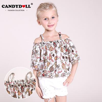 Áo ba lỗ  / Áo hai dây trẻ em Áo phông mùa hè của CANDYDOLL dành cho trẻ em những chiếc áo sơ mi rác