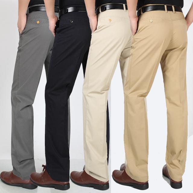 Quần Túi tóc giúp quần cotton nam giản dị mùa hè phần mỏng thẳng dài eo cao quần dài cha trung niên