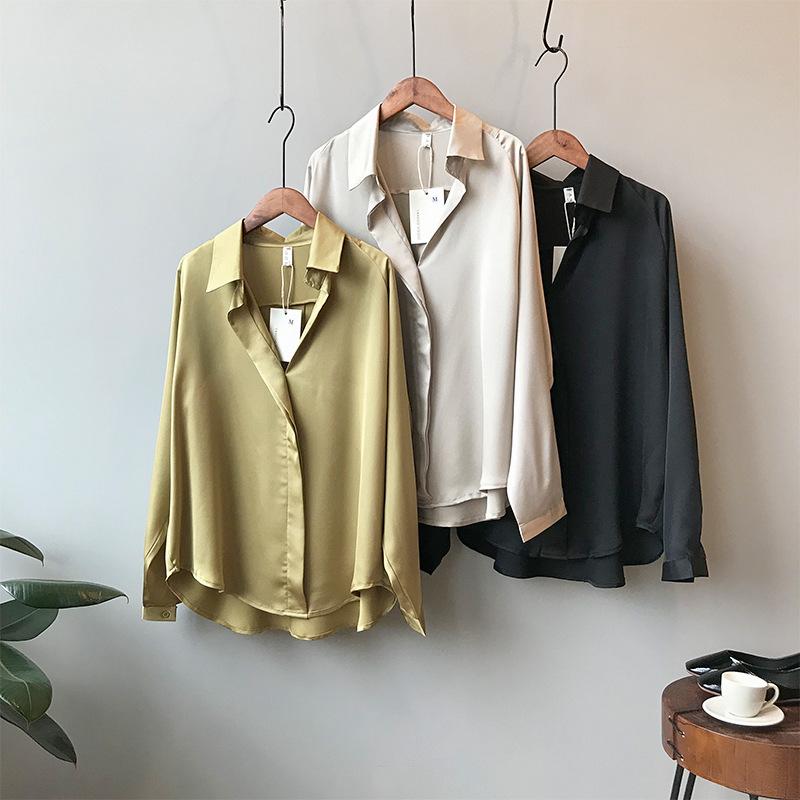 SJLT Áo sơ mi [Từ đôi] 2019 mùa thu mới khí chất áo satin nữ dài tay áo sơ mi rộng màu rắn YX0322