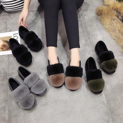 Giày Loafer / giày lười Giày lười đế mềm Hàn Quốc thường có lông đậu Hà Lan giày nữ cộng với nhung