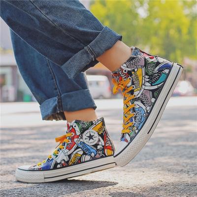 giày vải Giày vải mới nam cao cấp giày đỏ lưới thủy triều mùa hè Giày vẽ tay graffiti nổ Giày Gaoban