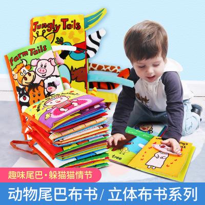 sách vải Cuốn sách bé tắm vải xé rách âm thanh nổi giáo dục sớm cuốn sách trẻ em 0-3 tuổi Tiếng Anh