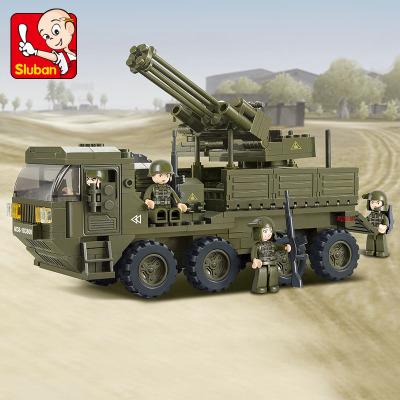 Bộ đồ chơi rút gỗ Khối xây dựng nhỏ Luban M38-B0302 Dòng quân đội - Xe tải chở quân hạng nặng Đồ chơ