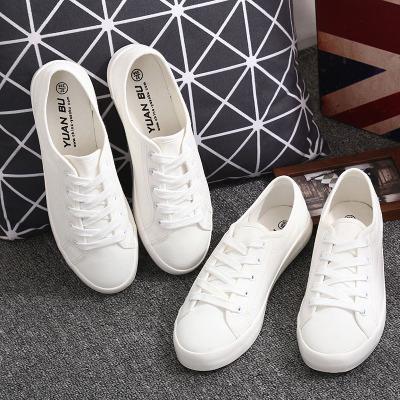 Giày trắng nữ Giày vải nữ đế bệt dài với giày trắng nhỏ, cà vạt văn học hoang dã, học sinh, thể thao