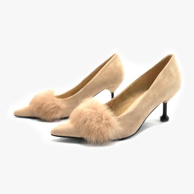 Giày GuangDong Thời trang giày cao gót 2019 mùa xuân thỏ sang trọng giày cao gót mũi nhọn gợi cảm g