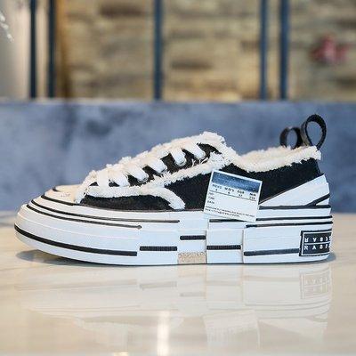 giày bánh mì / giày Platform Ngôi sao có cùng đoạn shoes Giày vải nữ màu sắc phù hợp dày in lưới màu