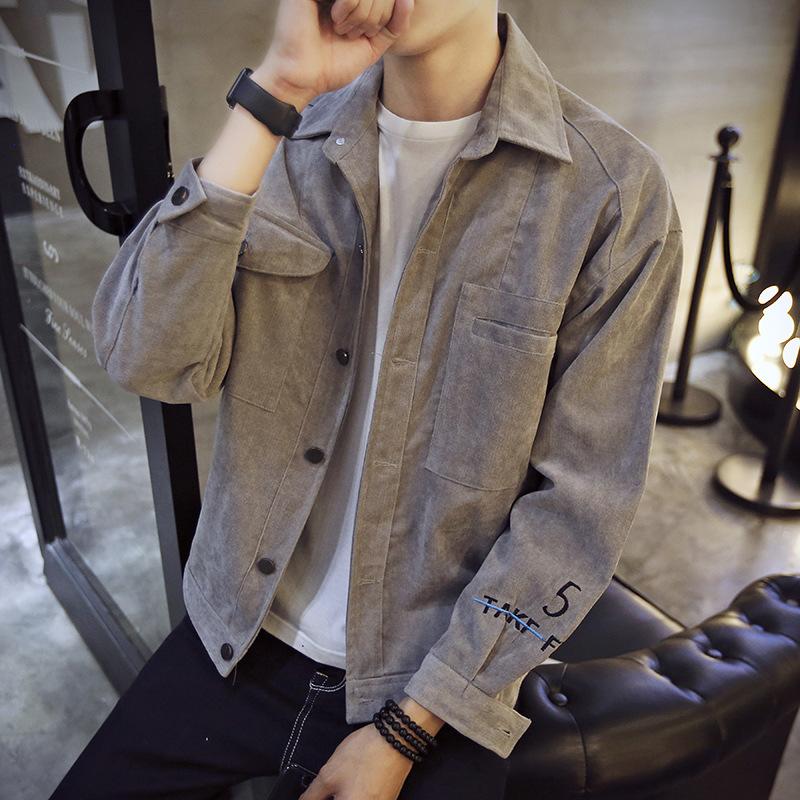 Áo khoác nam sinh viên áo khoác nam lỏng lẻo thêu thứ 5 hoang dã xu hướng giản dị sinh viên áo khoác