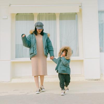 Áo thun gia đình (lớn) áo khoác cotton cho cha mẹ (không có cổ áo lông, cổ áo lông thú cần được lấy