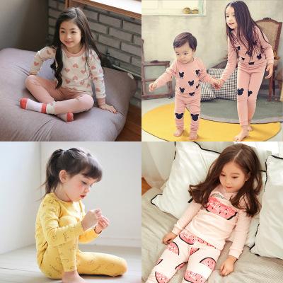 Đồ ngủ trẻ em Đồ ngủ cho bé gái Hàn Quốc 2018 mùa thu đông mới Bộ đồ lót trẻ em cotton mới cho trẻ e