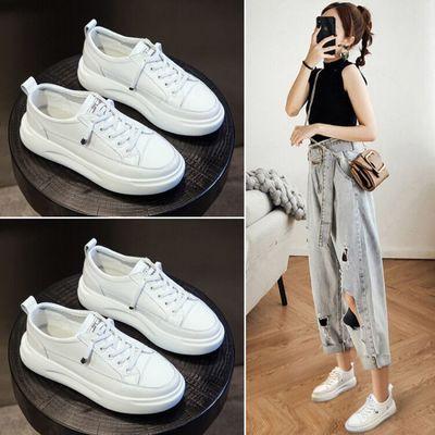 Giày trắng nữ Giày da trắng nữ 2019 mùa thu mới mẫu nổ phiên bản Hàn Quốc của giày lưới đơn màu đỏ đ