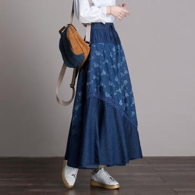 váy Thắt lưng thun in họa tiết denim dài váy nữ 2019 xuân mới con lắc lớn một từ váy của phụ nữ