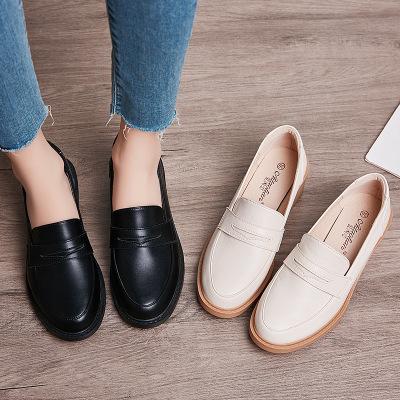 Giày da một lớp 1314 Châu Âu và Hoa Kỳ Giày đơn nữ Anh thời trang đơn giản và dày với giày nữ mỏng,