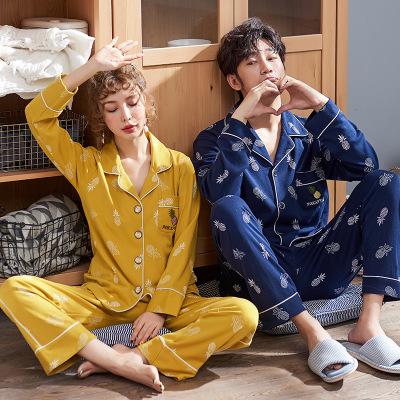 Đồ Suits Bộ đồ ngủ đôi mới cho nữ mùa hè cotton dài tay phiên bản Hàn Quốc mùa xuân và mùa thu mỏng