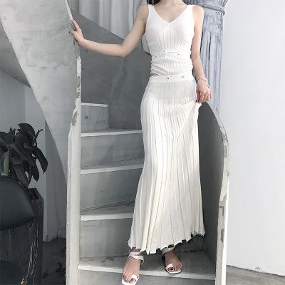 Đồ Suits Xia 2018 mới gợi cảm váy đầm nữ eo cao khí chất v-cổ váy dài sling mỏng