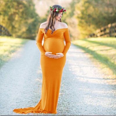 Trang phục bầu Phụ nữ mang thai 2018 châu Âu và Mỹ phụ nữ mang thai cổ chữ V cổ áo đuôi váy váy dài