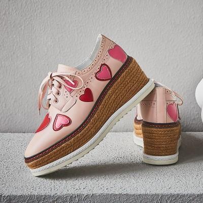 Giày nữ hàng Hot Giày da nêm hình trái tim Phiên bản Hàn Quốc của mùa xuân và mùa thu mới sâu miệng