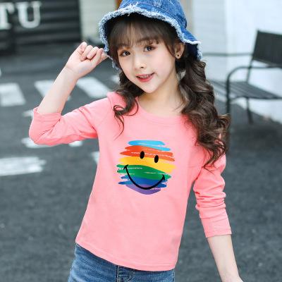 Áo thun trẻ em 2019 cô gái mùa thu mới áo thun dài tay cotton trẻ em áo sơ mi trẻ em từ bi mùa xuân