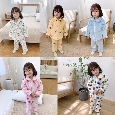 Đồ ngủ trẻ em Trẻ em mặc một thế hệ quần bé Qiuyi Qiuku quần áo trẻ em nhà set đồ nhung san hô mùa đ