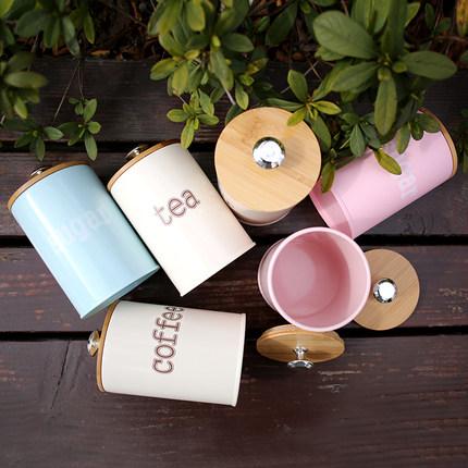 QUAJIASI  Hũ kim loại Lon cà phê hạt sắt lon chống ẩm lưu trữ dễ thương Bánh quy trà lon bột kín lọ