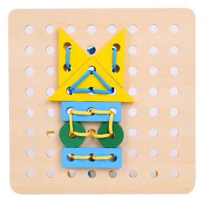 Bộ đồ chơi rút gỗ Trẻ em bằng gỗ đeo đồ chơi dây thừng 3-6 tuổi 0,4 giáo dục sớm câu đố hình dạng đa