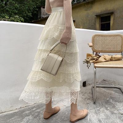 váy 2019 mùa thu mới rất cổ tích Pháp hốc bánh váy thun eo lưới ren cổ tích nửa váy