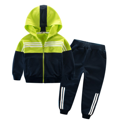 Đồ Suits trẻ em Mùa thu trẻ em 2019 quần áo mới cho trẻ em quần thể thao màu cotton phù hợp với áo k