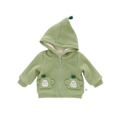 Áo khoác trẻ em Áo khoác trẻ em khỉ bé trùm đầu dây kéo áo mùa đông ra ngoài áo khoác ngoài cho bé n