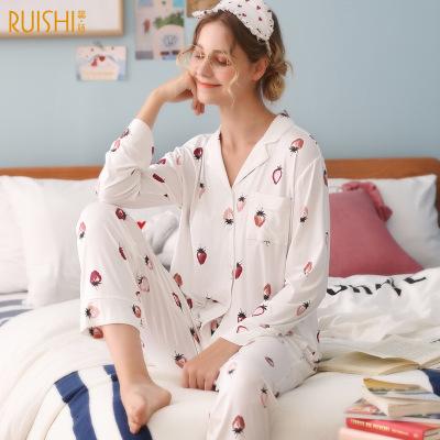 Đồ Suits Nhà máy trực tiếp mùa hè mỏng phần dài tay áo ngủ modal phụ nữ mùa xuân và mùa thu áo sơ mi