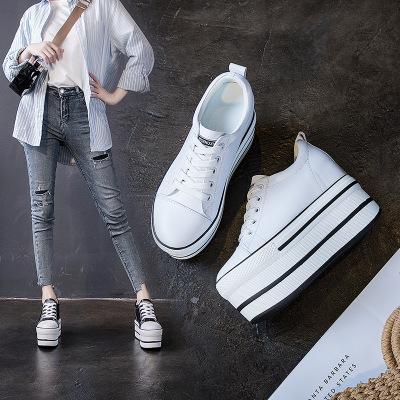 giày bánh mì / giày Platform Mùa thu mới muffin với giày nữ ở dưới dày tăng Giày nữ 12CM với đầu trò