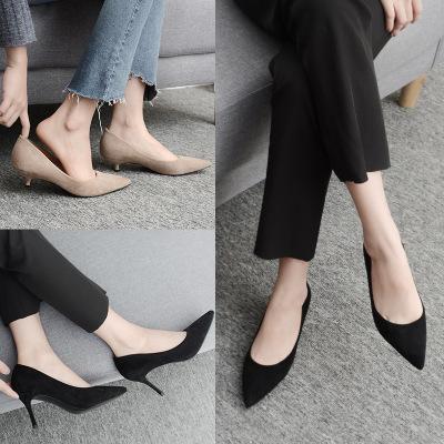 Giày da một lớp Giày cao gót nữ màu đen đẹp với giày mũi nhọn Giày nữ công sở Giày nữ cỡ nhỏ 31 32 3